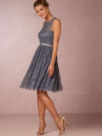 Beautiful Lace Knee-length Gray Bridesmaid Dresses