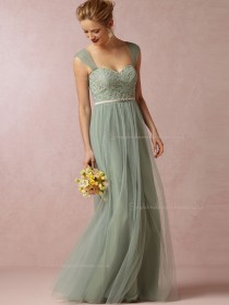 Custom Green Floor-length A-line Bridesmaid Dresses