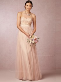 Best Pearl Pink Sweetheart Floor-length Bridesmaid Dresses