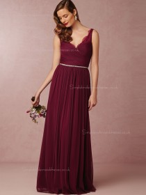 Cheap Burgundy Beading A-line Chiffon V-neck Bridesmaid Dresses