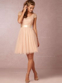 Flamboyant A-line V-neck Pearl Pink Cap Sleeve Bridesmaid Dresses