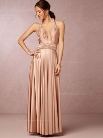 2016 Sexy V-neck Floor-length Pink Sleeveless Bridesmaid Dresses