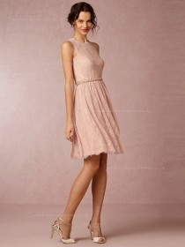 2016 Terrific Lace Knee-length Pink Sleeveless Bridesmaid Dresses