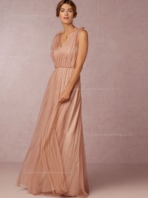 Sassy Ruffles A-line Pink Floor-length Sleeveless Bridesmaid Dresses