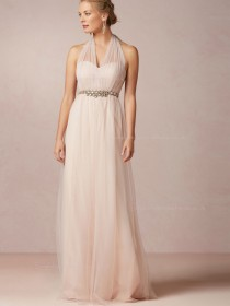 Ladylike Floor-length Tulle A-line Pink Bridesmaid Dresses