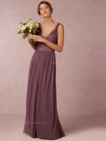 Hot sale Glorious Ruched Chiffon V-neck Floor-length Bridesmaid Dresses