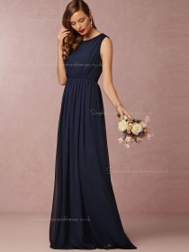 Inviting A-line Ruched Chiffon Dark Navy Bridesmaid Dresses