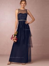 Perfect Popular Column / Sheath Sweetheart Dark Navy Bridesmaid Dresses