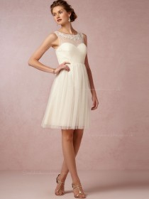 Popular Applique Ivory Empire Sweetheart Tulle Bridesmaid Dresses