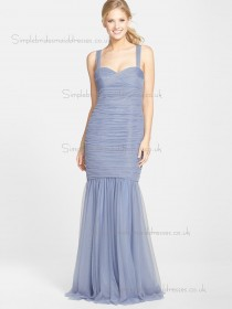 Elegant Floor-length Ruched Tulle Lilac Bridesmaid Dresses
