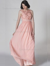 Cheap Floor-length Applique Pink Chiffon Bridesmaid Dresses