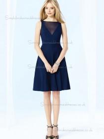 Designer Gorgeous Discount Chiffon Knee-length Dark Navy Bridesmaid Dresses