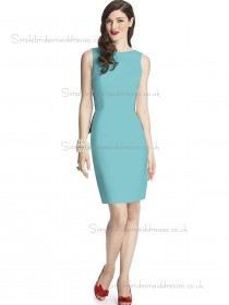 Budget Discount Blue Knee-length Satin Bridesmaid Dresses