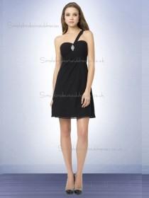 Budget Best Mini Beading Black Chiffon Bridesmaid Dresses