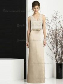 Designer Satin Floor-length Lace Champagne Bridesmaid Dresses