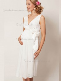Fitted Girls Bow Chiffon White Short-length Bridesmaid Dresses