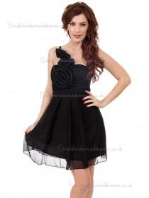 UK Beautiful Stunning Short-length Chiffon Black Hand Made Flower Bridesmaid Dresses