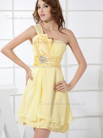 Online Daffodil Chiffon Beading Short-length Bridesmaid Dresses