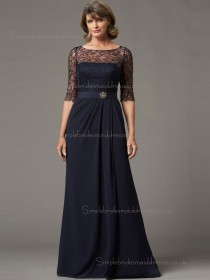 Budget Celebrity Chiffon Lace Dark Navy Floor-length Bridesmaid Dresses