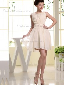Cheap Girls Champagne Chiffon Short-length Belt Bridesmaid Dresses