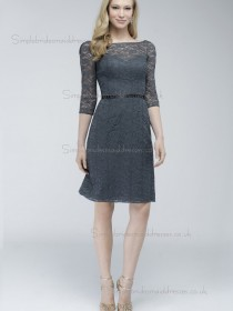 UK Belt Gray Lace Short-length Bridesmaid Dresses