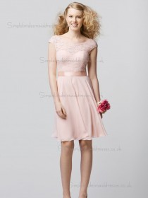 Cheap Stunning Short-length Lace Chiffon Belt Pink Bridesmaid Dresses