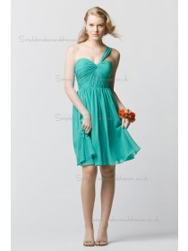 Vintage Romantica Draped Jade Short-length Chiffon Bridesmaid Dresses