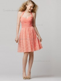 Budget Pink Ruffles Lace Short-length Bridesmaid Dresses