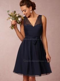 Budget Chiffon Dark Navy Short-length Belt Bridesmaid Dresses