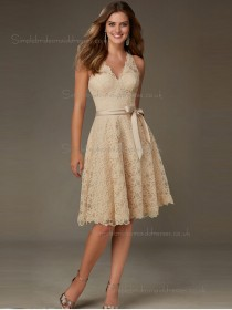 Budget Stunning Champagne Belt Short-length Lace Bridesmaid Dresses