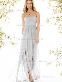 Discount Draped Gray Floor-length Chiffon Bridesmaid Dresses