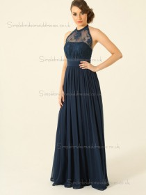 Budget Best Dark Navy Chiffon Lace Short-length Bridesmaid Dresses