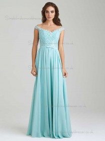 Designer Celebrity Vintage Aqua Lace Floor-length Chiffon Bridesmaid Dresses