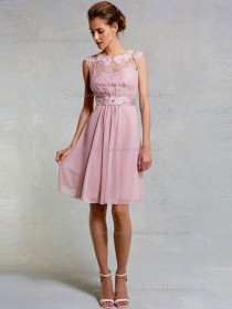 Designer Amazing Vintage Applique Short-length Chiffon Pink Bridesmaid Dresses