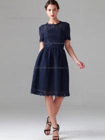 Vintage Best short-length Dark Navy Lace Bridesmaid Dresses