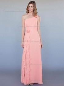 Designer Romantica Vintage Floor-length Hand Made Flower Chiffon Pink Bridesmaid Dresses