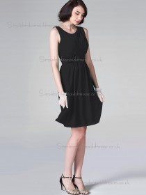 Budget Hand Made Flower Short-length Chiffon Black Bridesmaid Dresses
