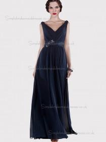 Budget Floor-length Dark Navy Chiffon Belt Bridesmaid Dresses