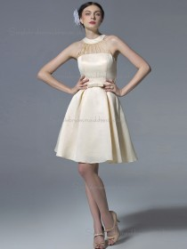 Elegant Best Belt Short-length Chiffon Champagne Bridesmaid Dresses