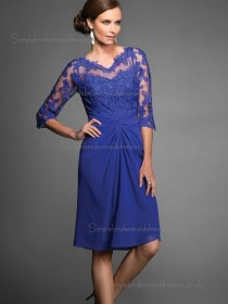 Vintage Stunning Chiffon Short-length Applique Royal Blue Bridesmaid Dresses