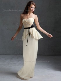 Beautiful Best Belt Chiffon Floor-length Champagne Bridesmaid Dresses