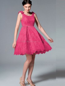 UK Lace Satin Short-length Hot Pink Bridesmaid Dresses