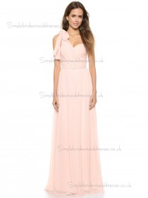 Beautiful Celebrity Pink Floor-length Chiffon Bridesmaid Dresses