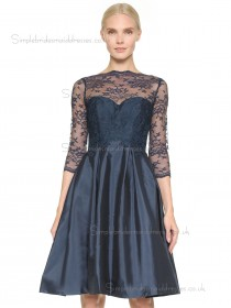 Vintage Dark Navy Short-length Taffeta Lace Bridesmaid Dresses