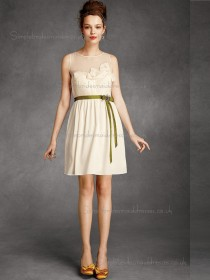 Online Amazing Chiffon Champagne Short-length Belt Bridesmaid Dresses