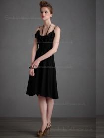 Budget Amazing Chiffon Black Short-length Bridesmaid Dresses