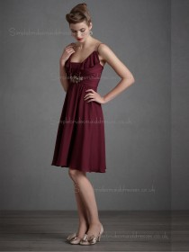Elegant Short-length Beading Chiffon Burgundy Bridesmaid Dresses