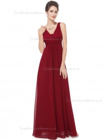 Beautiful Discount Burgundy Chiffon V-neck A-line Floor-length Ruffles Empire Bridesmaid Dress