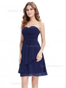 Vintage Royal Blue Chiffon Sweetheart A-line Short-length Ruffles Empire Bridesmaid Dress
