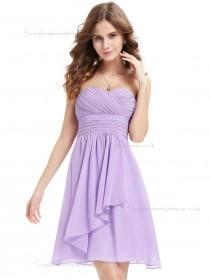 Beautiful Amazing Lilac Chiffon Sweetheart A-line Short-length Ruffles Empire Bridesmaid Dress